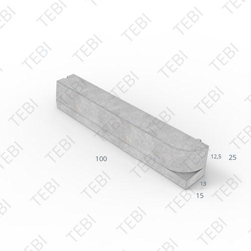 Perronband 13/15x25x100cm uitgew. zwart rechts