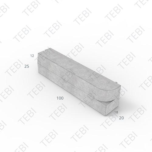 Inritperronband 18/20x25x100cm grijs R