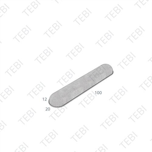 Stootband plak 12x20x95cm grijs 1x ronde kop