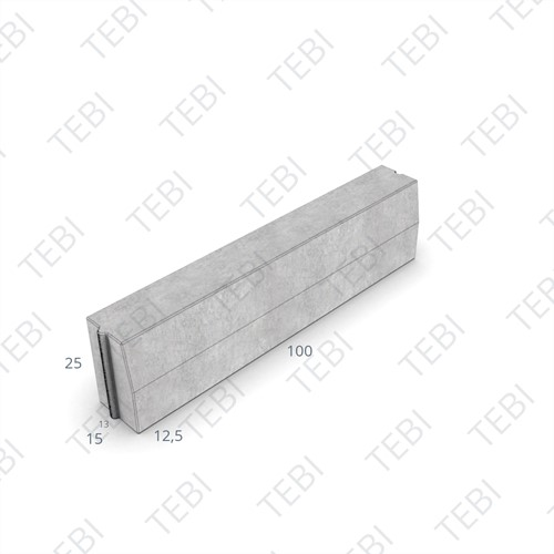 Trottoirband 13/15x25x100cm grijs