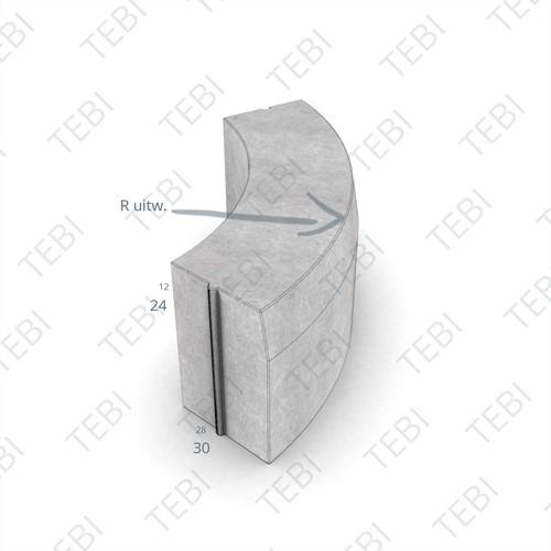 Bochtstuk 28/30x24cm R=8 Uitw. grijs