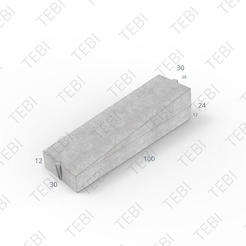 Inritverloopband 28/30x24/12x100cm grijs rechts