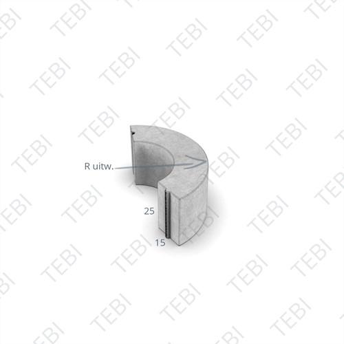 Bochtstuk 15x25cm R=1 grijs