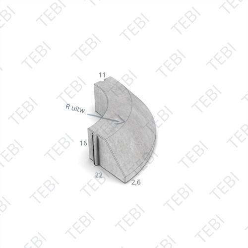 Bochtstuk 11/22x16cm Uitw. R=1 grijs