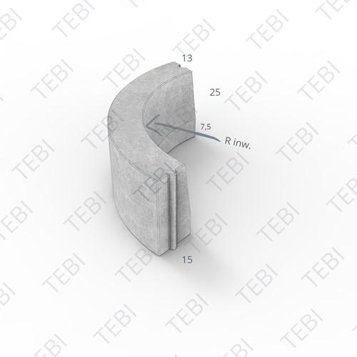 Bochtstuk 13/15x25cm R=12 Inw grijs