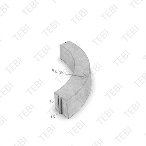 Bochtstuk 13/15x16cm R=10 Uitw grijs