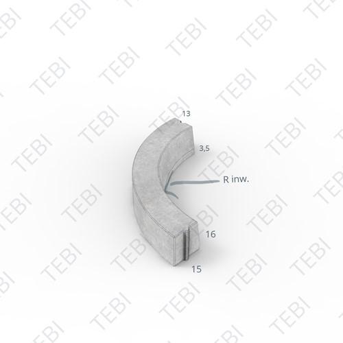 Bochtstuk 13/15x16cm R=10 Inw grijs