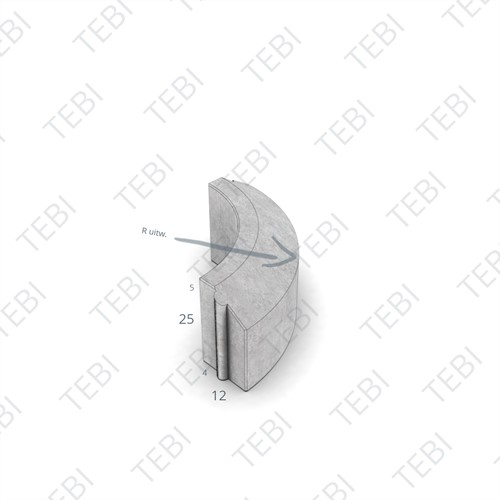 Rijwielpadbochtband 4/12x25cm R=1 inw. grijs
