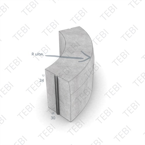 Bochtstuk 28/30x24cm R=7 Uitw Hardstkl.