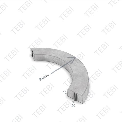 Bochtstuk 18/20x12cm R=0,5 Uitw grijs