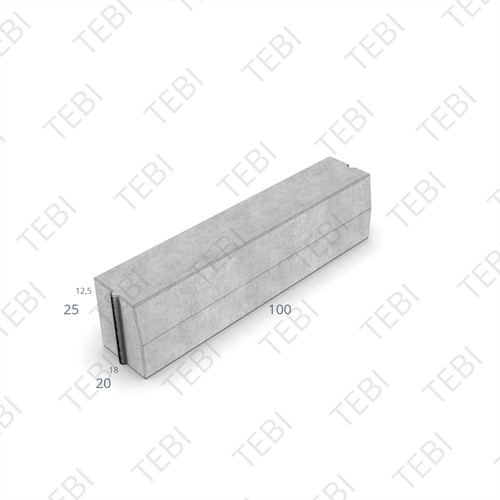 Trottoirband 18/20x25x100cm uitgew zwart grigio 20