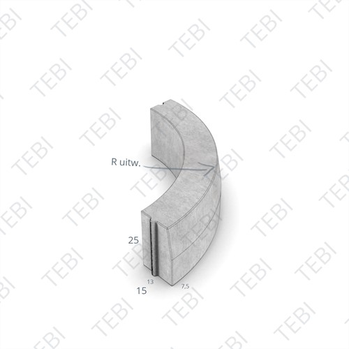 Bochtstuk 13/15x25cm R=2 Uitw uitgew bont