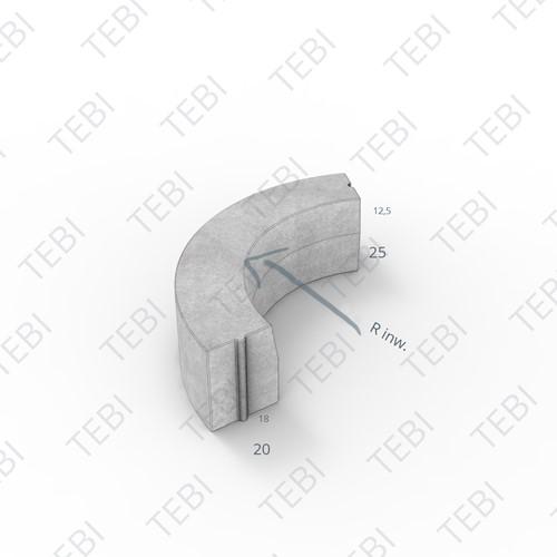 Bochtstuk 18/20x25cm R=0.75 Inw. grijs