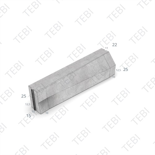 Verloopband 13/15x25-15x25x100cm grijs