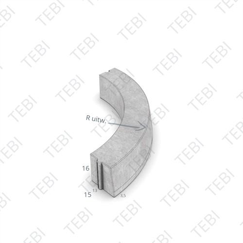 Bochtstuk 13/15x16cm R=2 Uitw grijs