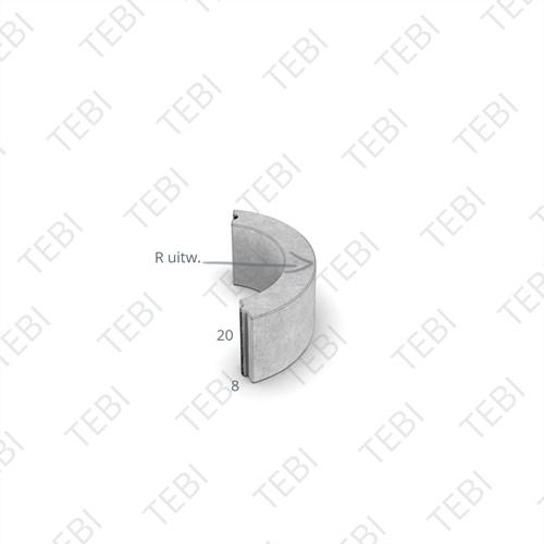 Bochtstuk 8x20cm R=10 grijs