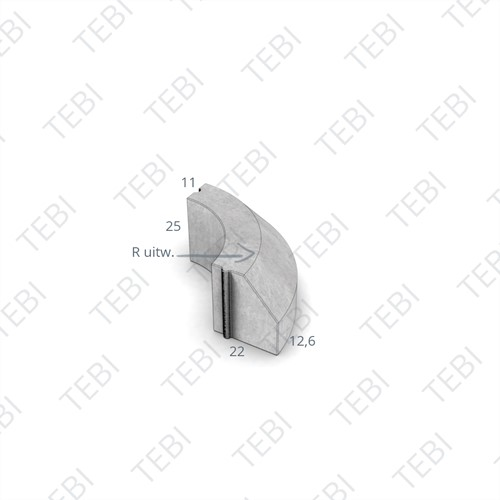 Bochtstuk 11/22x25cm Uitw. R=1,5 grijs