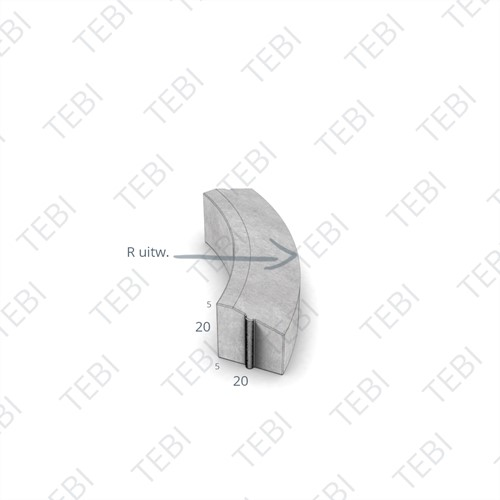 Bochtstuk 5/20x20cm R=10 Uitw. hardsteenkleur