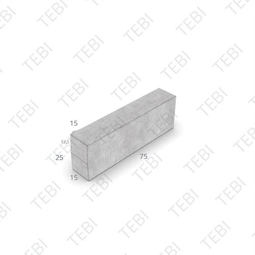 Inritperronband 13/15x25x75cm uitgew grijs GIG rechts