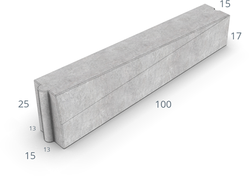 Inritverloopband 13/15x25/17x100cm uitgew GIG grijs links