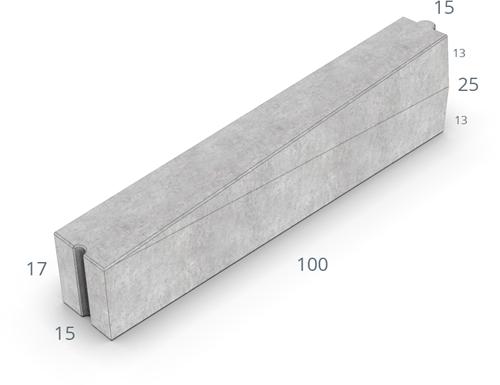 Inritverloopband 13/15x25/17x100cm uitgew GIG grijs rechts