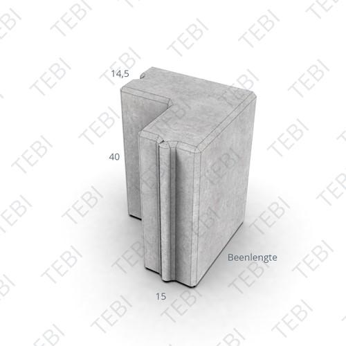 Hoekstuk 15x40cm 135º grijs