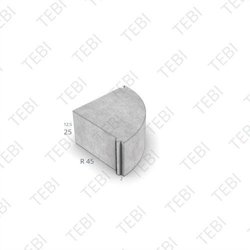 Hoekblok 13/15x25cm Uitw R=45 uitgew. zwart/groen