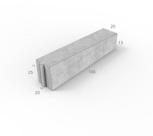 Inritverloopband 18/20x25/13x100cm hardsteenkleur links