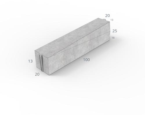Inritverloopband 18/20x25/13x100cm hardsteenkleur rechts