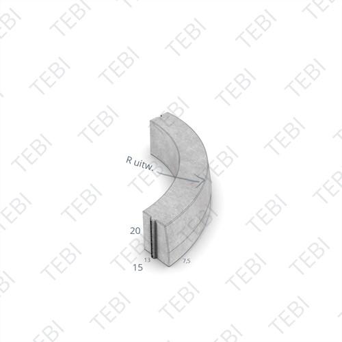 Bochtstuk 13/15x20cm R=3 Uitw grijs