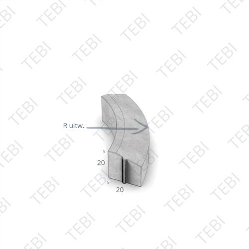 Bochtstuk 5/20x20cm R=1 Uitw. grijs