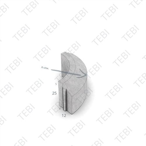 Rijwielpadbochtband 4/12x25cm R=8 uitw. grijs