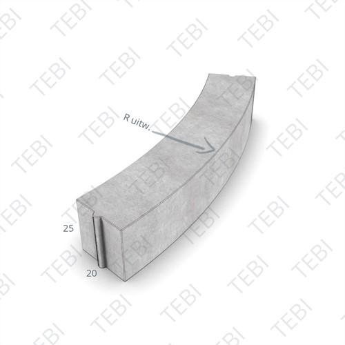Bochtstuk 20x25cm R=3 Grijs