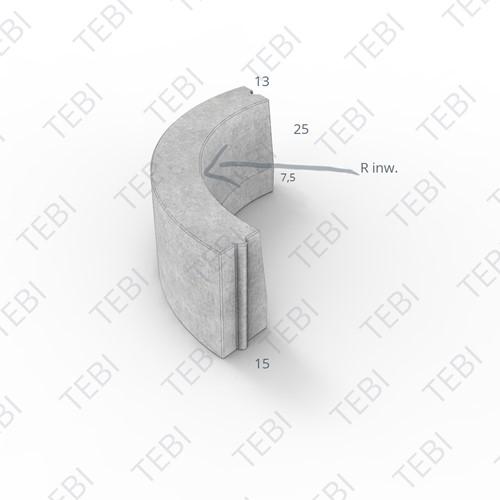 Bochtstuk 13/15x25cm R=5 Inw. uitgew GIG