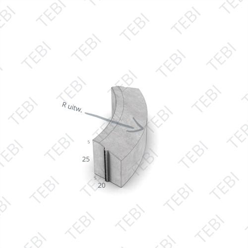 Bochtstuk 5/20x25cm R=15 Uitw grijs