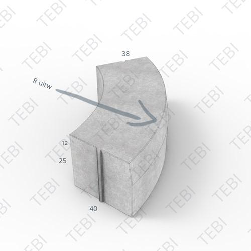 Bochtstuk 38/40x25cm grijs R=5 Uitw.