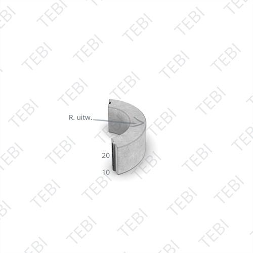 Bochtstuk 10x20cm R=1 uitgew. zwart Lavaro 706