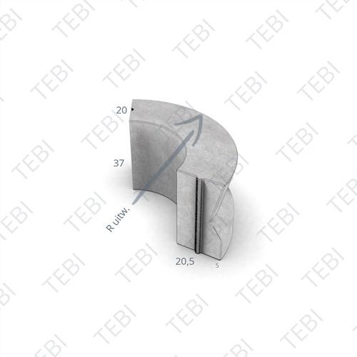 Amstelband bochtstuk 20/20,5x37cm R=1 uitw. uitgew. zwart