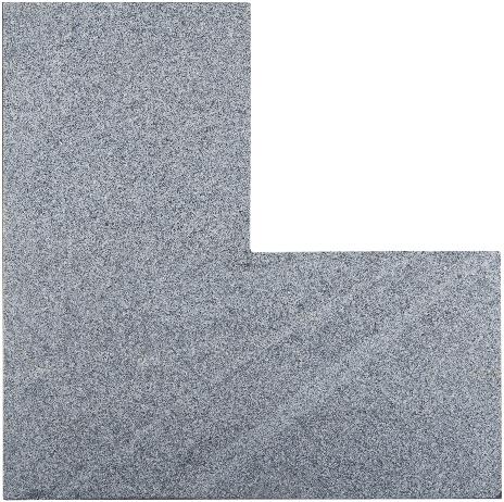 Graniet vijverrand Dark Grey Flamed Hoek donkergrijs 3x25x50/50cm