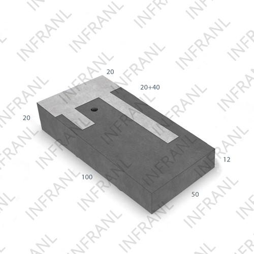 Verkeersplateaudrempel 12/20x50x100cm CROW 30km/h grijs/wit (45/XF4)