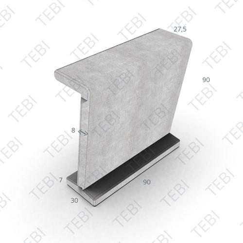 Zandbakelement Recht 90x90x30cm grijs