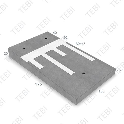 Verkeersdrempel 12/20x100x175cm CROW 30 km/h grijs/wit (45/XF4)