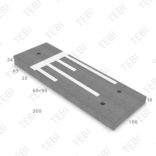 Verkeersdrempel 16/24x100x300cm CROW 50km/h grijs/wit (45/XF4)