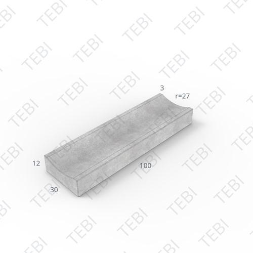 Molgoot 12x30x100cm grijs Uitholling 30mm
