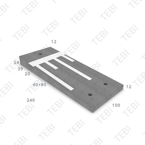 Verkeersdrempel 12/24x100x240cm CROW 30km/h grijs/wit, Eindmodel rechts (45/XF4)