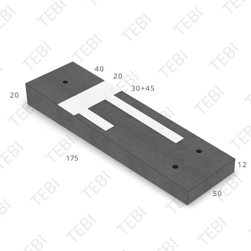 Verkeersdrempel 12/20x50x175cm CROW 30km/h zwart/wit (45/XF4)