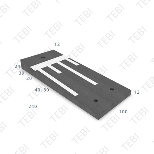 Verkeersdrempel 12/24x100x240cm CROW 30km/h zwart/wit, Eindmodel rechts (45/XF4)