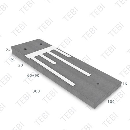 Verkeersdrempel 16/24x100x300cm CROW 50km/h grijs/wit, Eindmodel rechts (45/XF4)