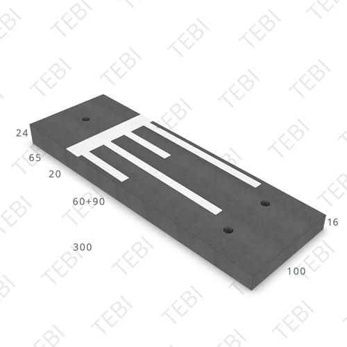 Verkeersdrempel 16/24x100x300cm CROW 50km/h zwart/wit (45/XF4)