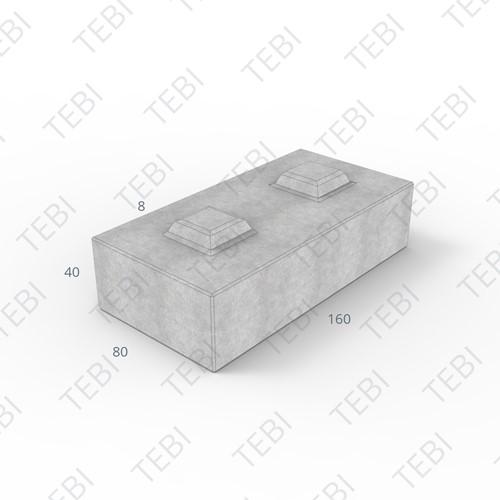 Megablok 160x80x40cm grijs 2 nok